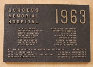 1963 Burgess dedication plaque