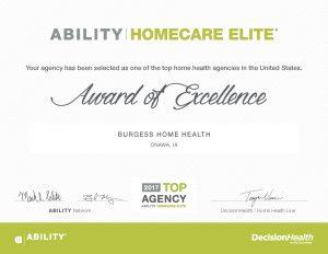Homecare Elite 2017 certificate