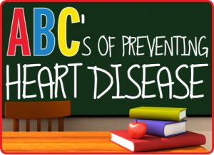 """Wear Red 2018 logo with blackboard and """"ABC's of Preventing Heart Disease"""""""