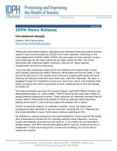 IDPH Press Release 3 8 20 Page 1