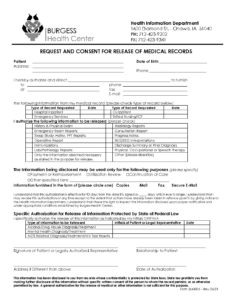 Request and Consent for Release of Medical Records 04052021